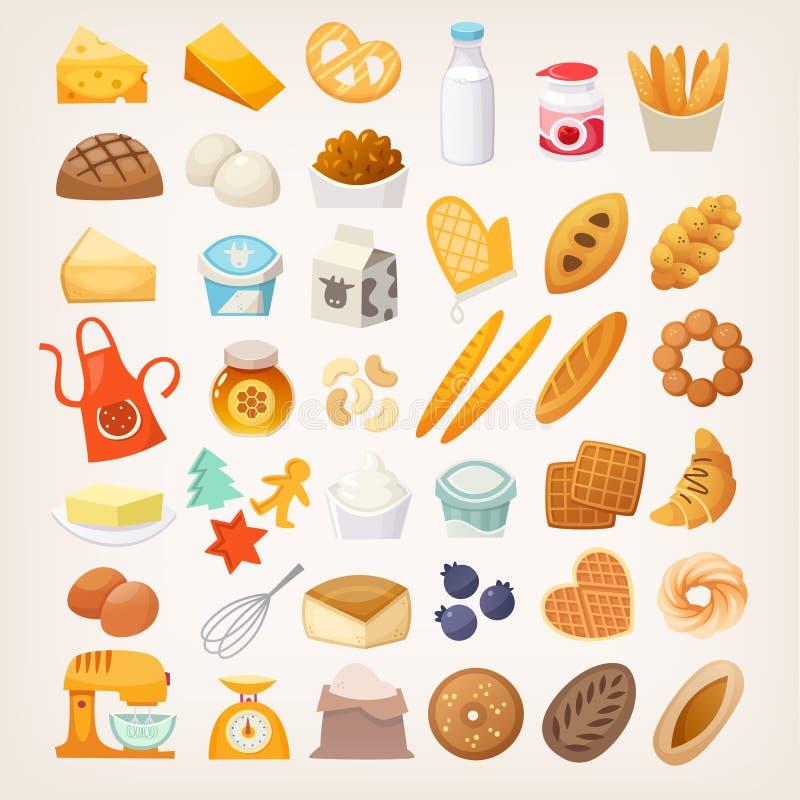 Metta degli ingredienti per la cottura del pane Icone del forno illustrazione vettoriale