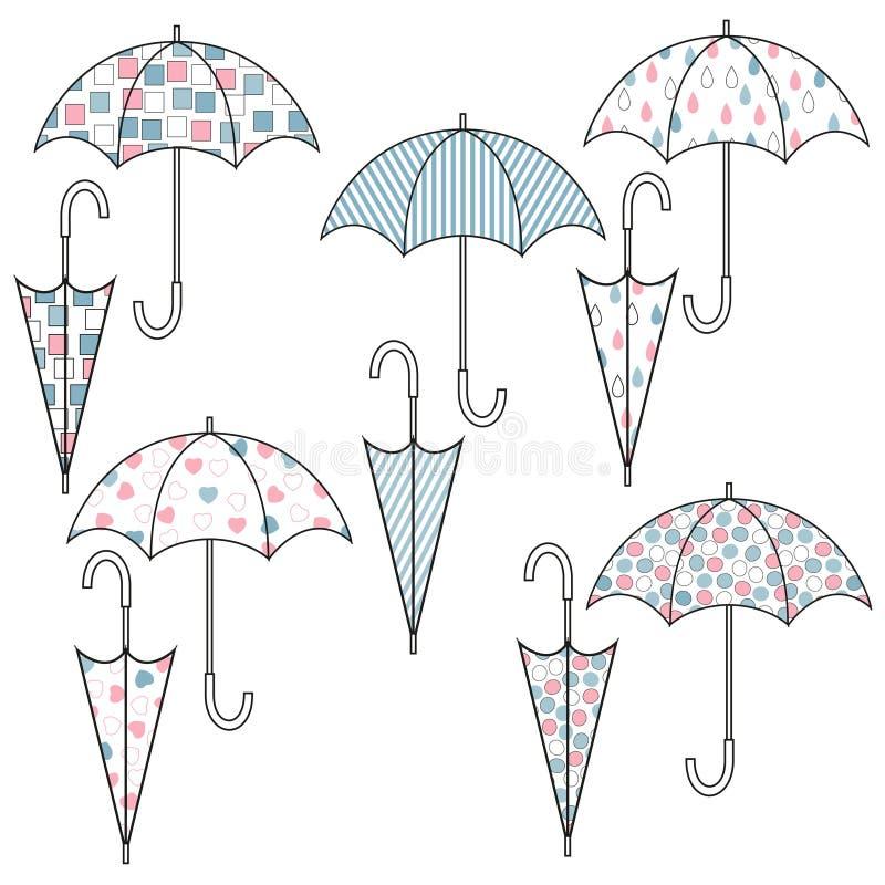 Metta degli ombrelli con differenti modelli svegli Illustrazione di colore di vettore illustrazione di stock