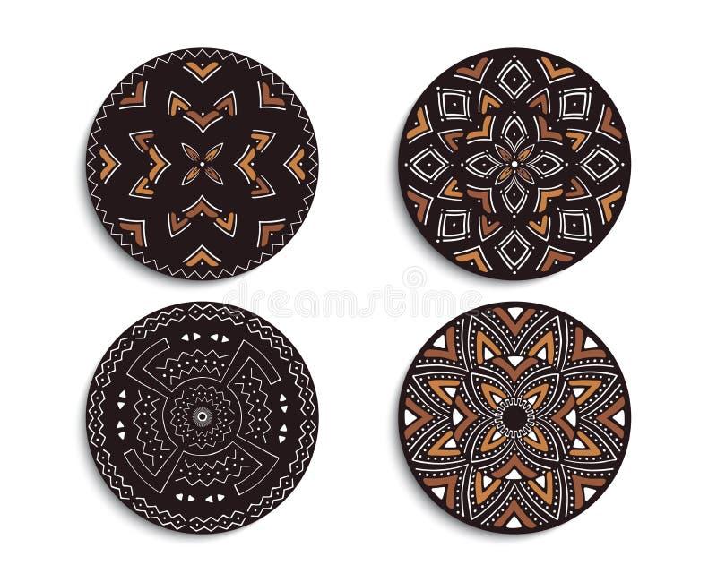 Metta degli ornamenti circolari africani Stampa tribale illustrazione vettoriale