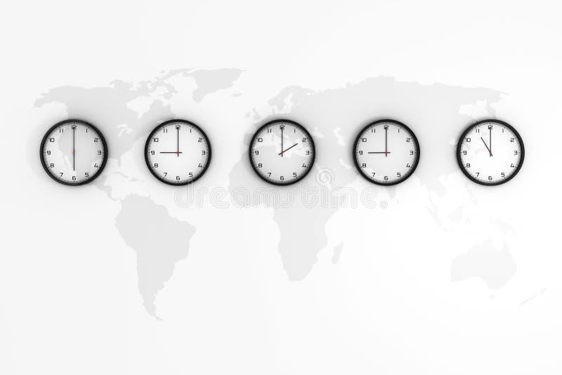 Metta degli orologi con tempo differente del mondo con la mappa di mondo rappresentazione 3d immagini stock