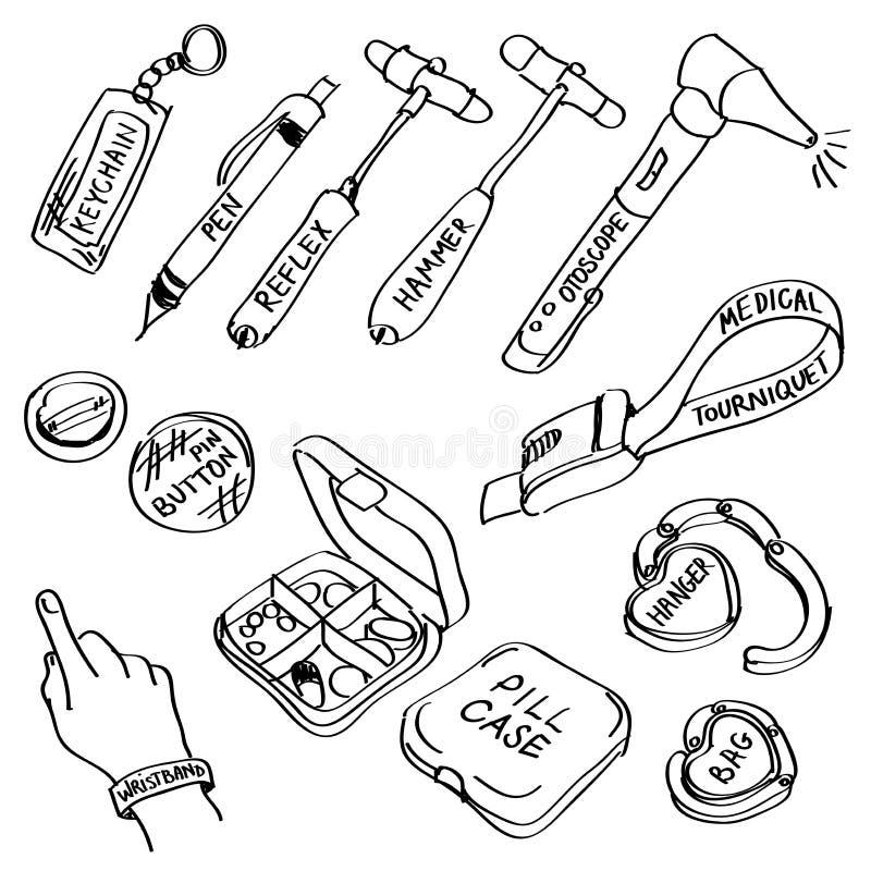 Metta degli scarabocchi disegnati a mano dei rifornimenti medici isolati su un fondo bianco illustrazione vettoriale