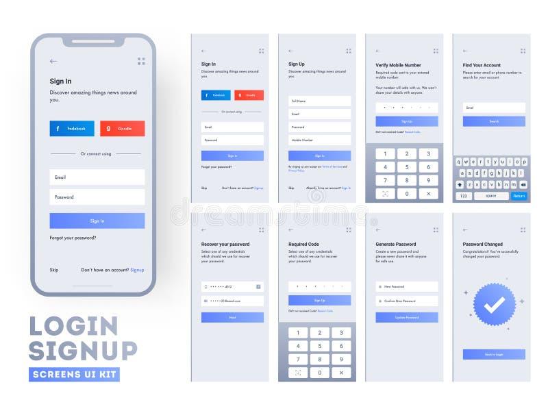 Metta degli schermi di connessione mobili con UI per le applicazioni illustrazione di stock