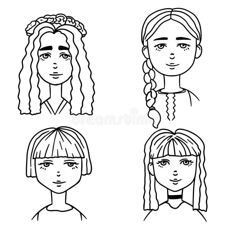 Metta degli schizzi del fumetto delle ragazze sveglie Illustrazione di stile di scarabocchio dei ritratti delle ragazze illustrazione vettoriale