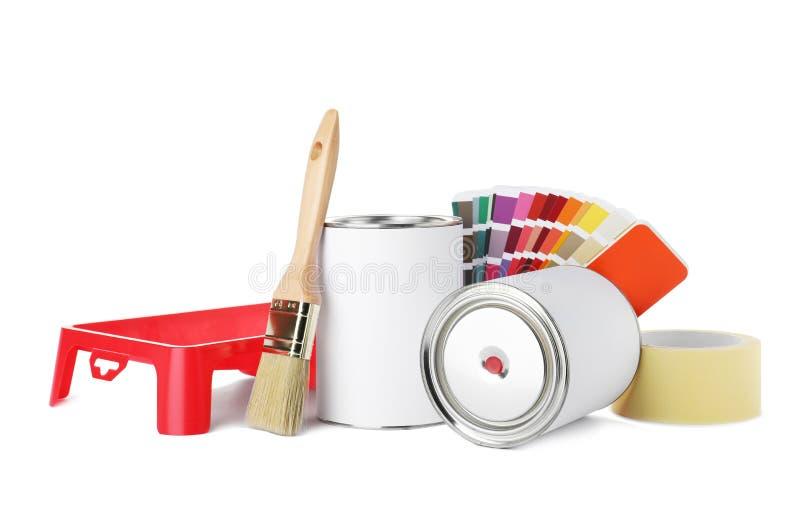 Metta degli strumenti della pittura su fondo bianco royalty illustrazione gratis