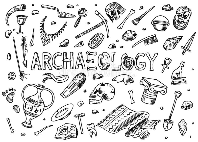 Metta degli strumenti di archeologia, l'attrezzatura di scienza, manufatti Fossili scavati ed ossa antiche Schizzo disegnato a ma illustrazione vettoriale