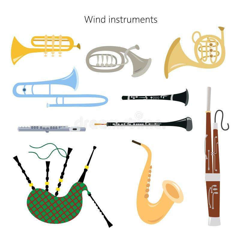 Metta degli strumenti di vento sui precedenti bianchi royalty illustrazione gratis