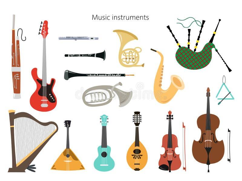 Metta degli strumenti musicali sui precedenti bianchi illustrazione vettoriale