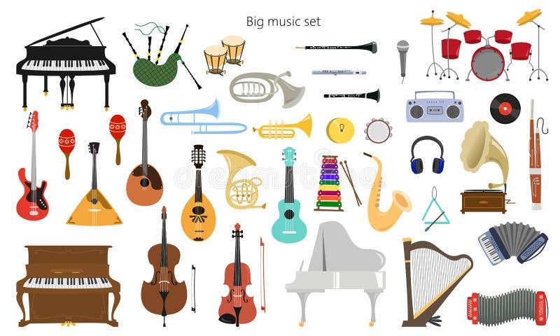 Metta degli strumenti musicali sui precedenti bianchi royalty illustrazione gratis