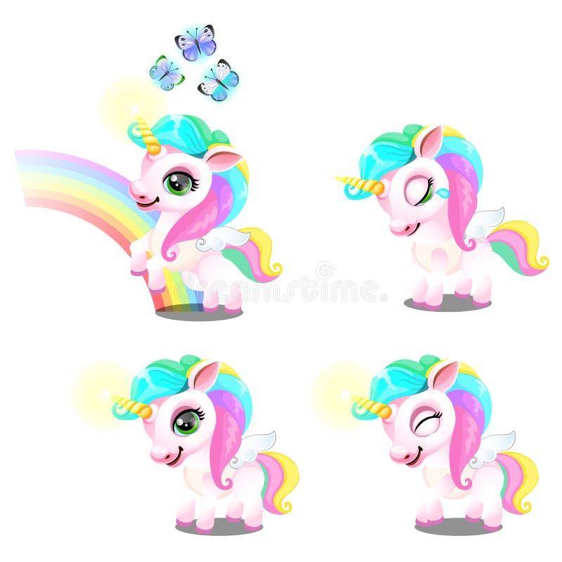 Metta degli unicorni dolci magici svegli con l'arcobaleno colorato criniera, il corno, farfalla isolata su fondo bianco Campione  royalty illustrazione gratis