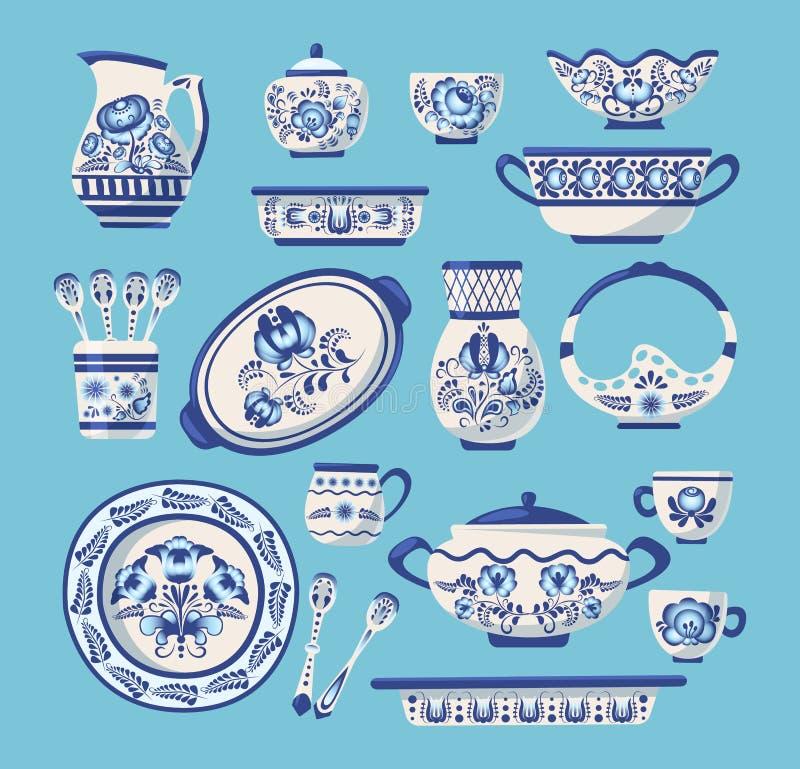Metta degli utensili o delle terrecotte ceramici della cucina illustrazione vettoriale