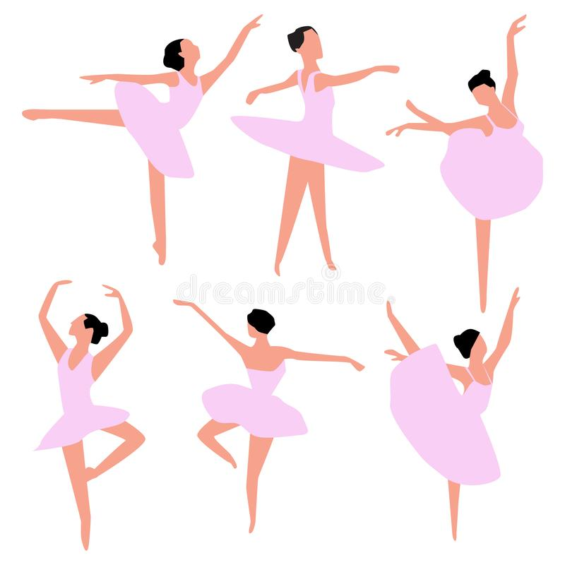 Metta dei ballerini di balletto isolati su bianco Vettore illustrazione di stock