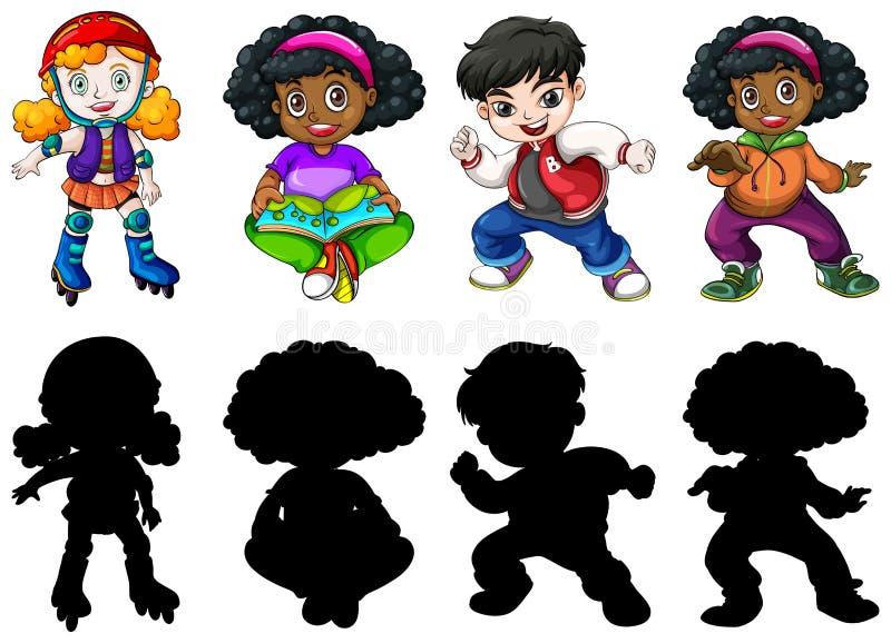 Metta dei bambini differenti illustrazione vettoriale