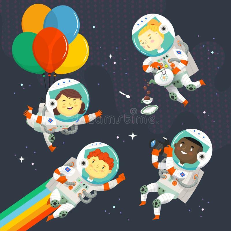 Metta dei bambini in tuta spaziale che galleggia nel cielo vicino alle stelle divertendosi ad una festa di compleanno cosmica illustrazione vettoriale