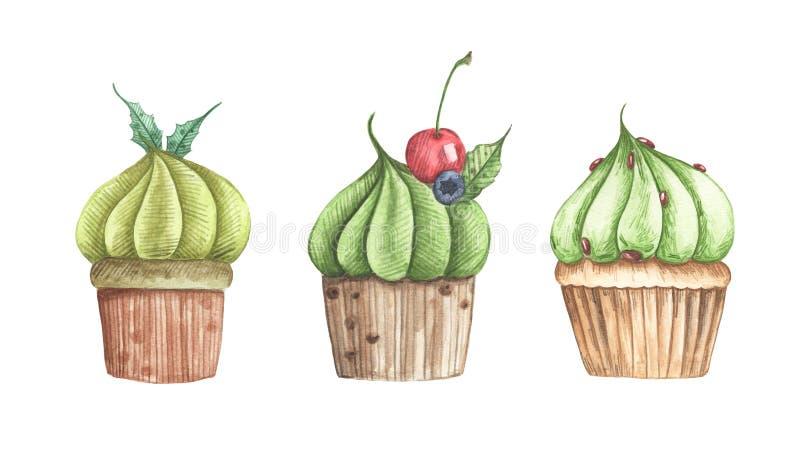 Metta dei bigné differenti del tè verde di Matcha isolati su fondo bianco illustrazione vettoriale