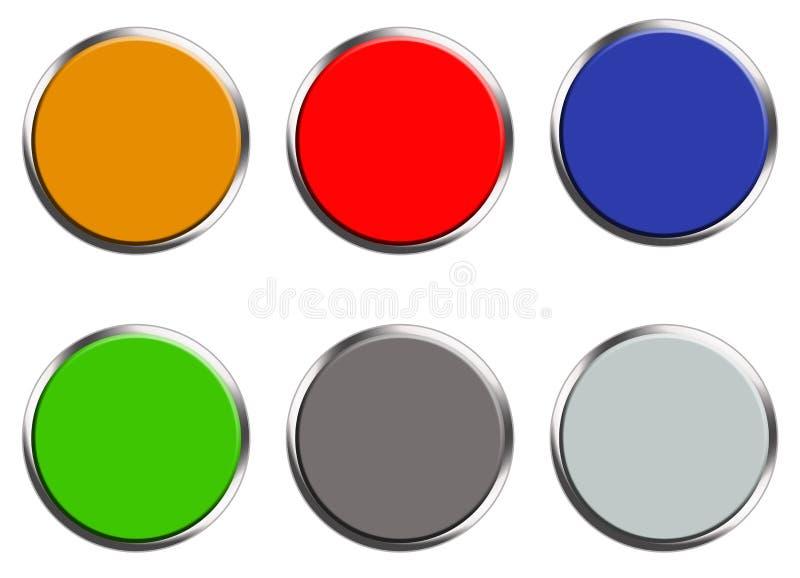 Metta dei bottoni colorati di web su fondo bianco Stile piano metta del bottone rotondo per la vostra progettazione del sito Web, illustrazione di stock
