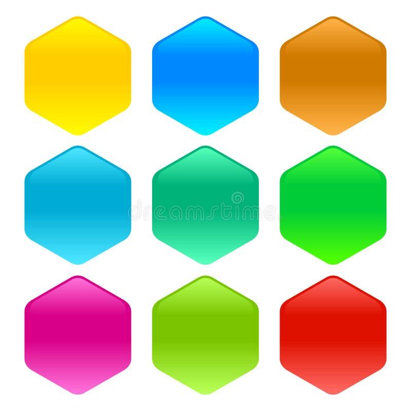 Metta dei bottoni di vetro del sito Web senza testo nell'illustrazione di molti colori illustrazione di stock