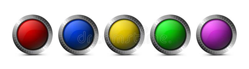 Metta dei bottoni di vetro di vettore per il web illustrazione vettoriale