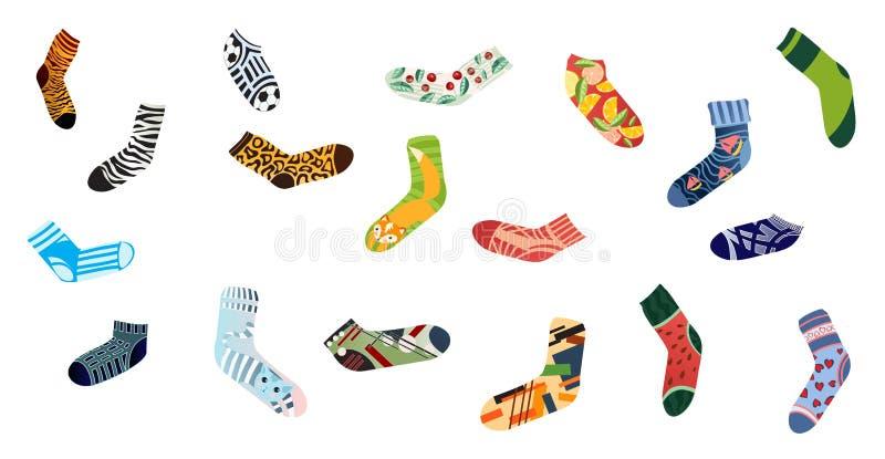 Metta dei calzini variopinti per l'uomo e la donna, progettazione del tessuto illustrazione di stock
