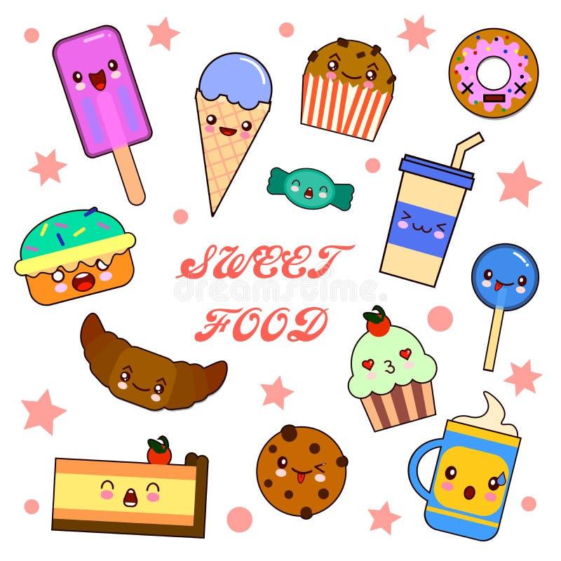 Metta dei caratteri divertenti del dessert - la ciambella, il croissant, il bigné, dolce, maccherone, illustrazione di stile del  illustrazione vettoriale