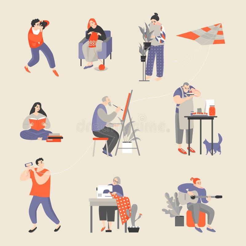 Metta dei caratteri impegnati nei loro hobby Uomini e donne che prendono le immagini, tricottare, floricoltura, lettura, pittura, illustrazione vettoriale