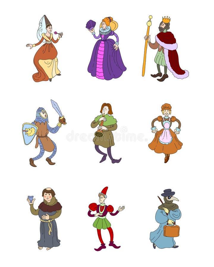 Metta dei caratteri medievali variopinti svegli, vestiti differenti illustrazione vettoriale