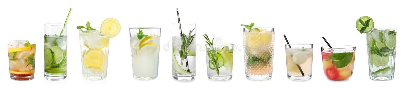 Metta dei cocktail deliziosi differenti fotografia stock