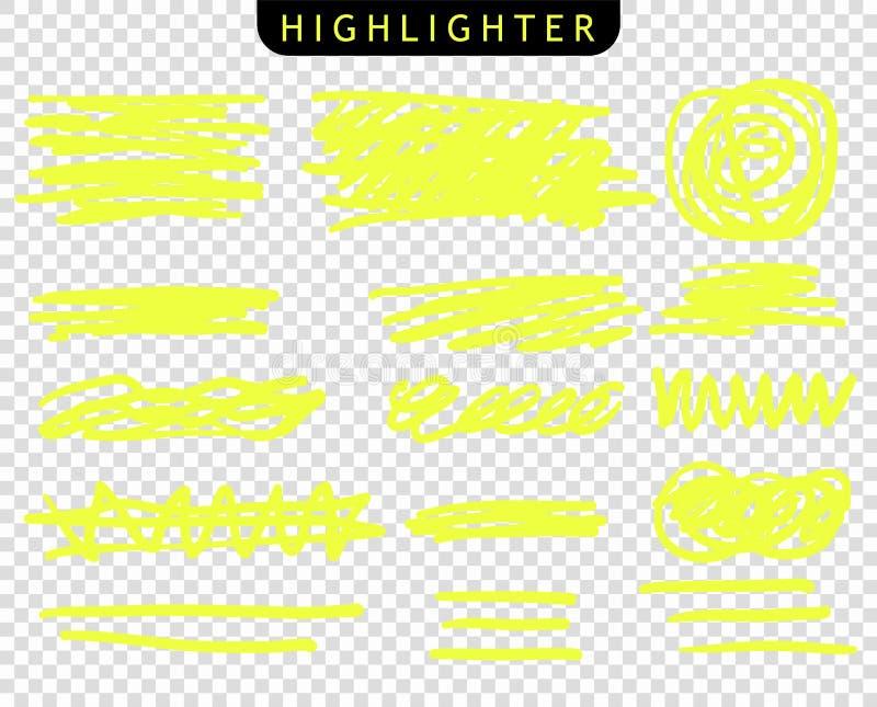 Metta dei colpi gialli allineano gli indicatori Linee della spazzola di punto culminante di vettore Lo schizzo del disegno della  fotografie stock libere da diritti