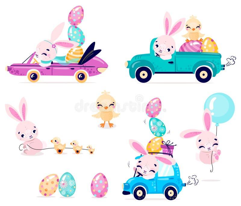 Metta dei conigli svegli di Pasqua con le uova di Pasqua e del pollo Trasporto con il coniglietto di pasqua illustrazione di stock