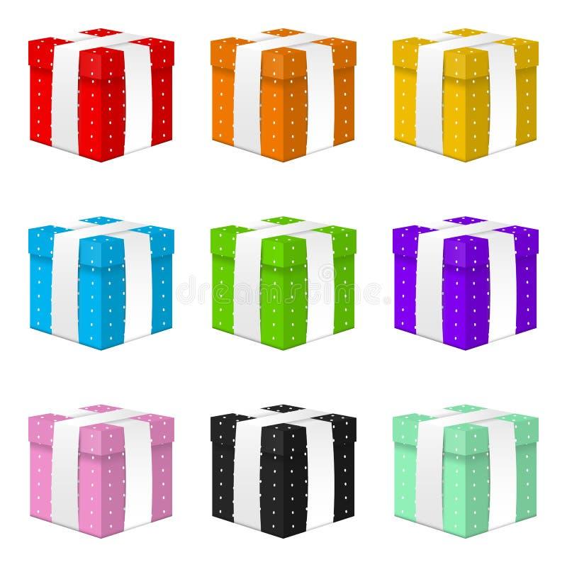 Metta dei contenitori di regalo realistici di vettore 3d con il nastro bianco isolato su fondo bianco Elemento per varie progetta illustrazione vettoriale