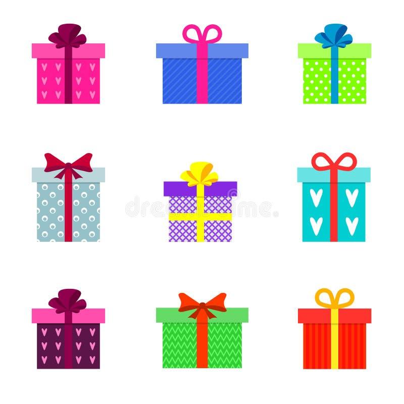 Metta dei contenitori di regalo variopinti piani alla moda illustrazione di stock
