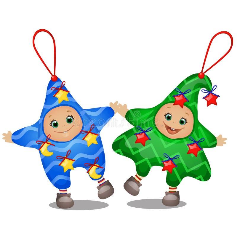 Metta dei costumi divertenti di Natale per l'asilo delle ragazze e dei ragazzi isolati su un fondo bianco Schizzo del Natale royalty illustrazione gratis