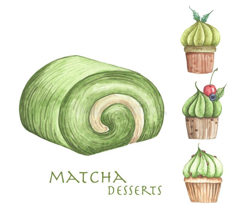 Metta dei dessert di Matcha, del dolce del rotolo e dei bigné illustrazione vettoriale