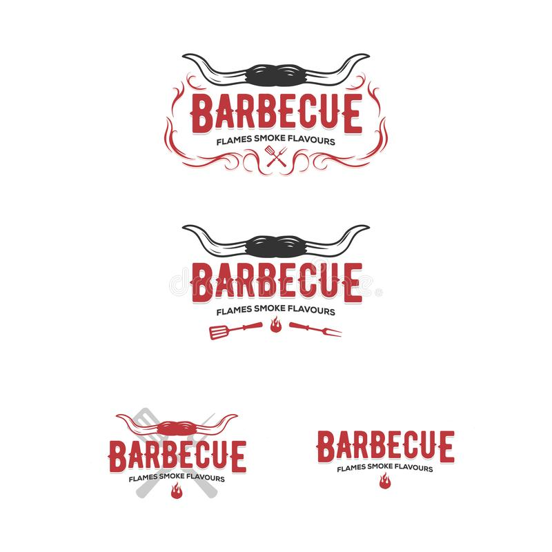 Metta dei distintivi del barbecue e della griglia, gli autoadesivi, emblemi illustrazione vettoriale