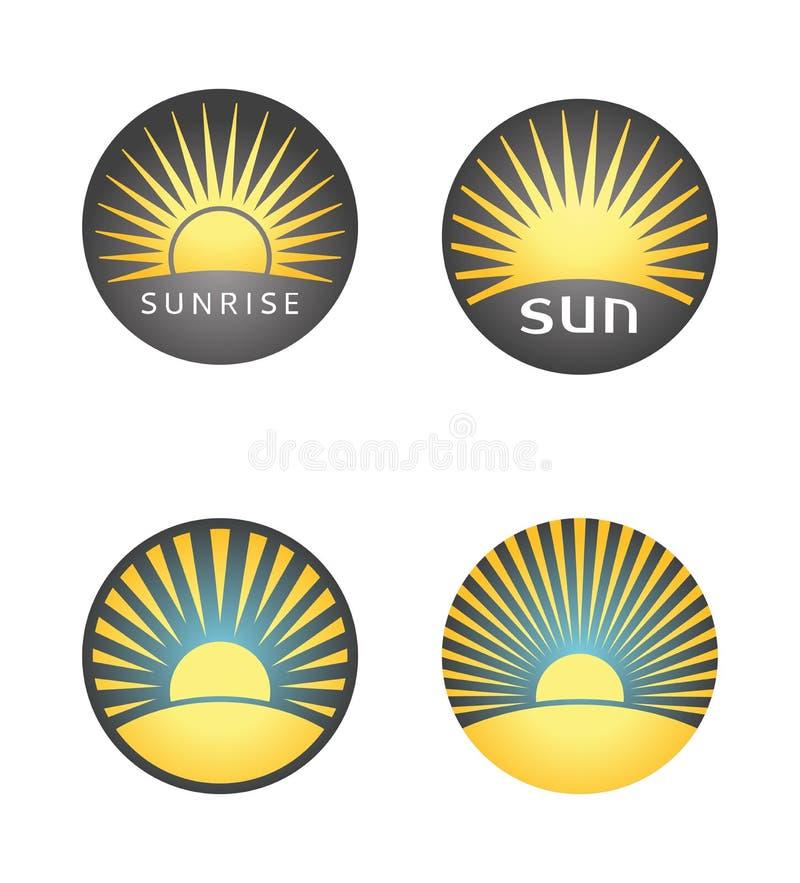 Metta dei distintivi dell'estate con l'alba o il tramonto fotografie stock libere da diritti