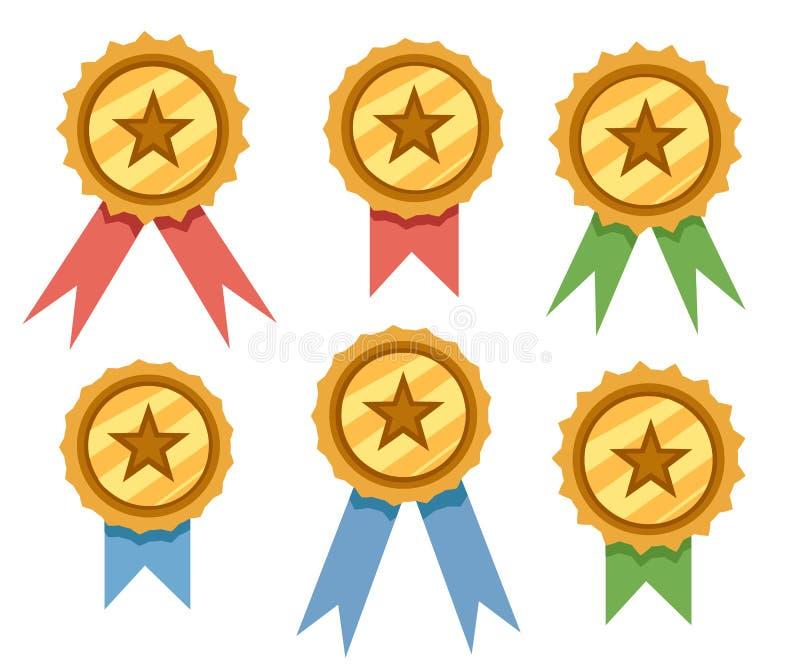 Metta dei distintivi dorati del premio con i nastri blu, rossi e verdi Illustrazione piana di vettore isolata su fondo bianco illustrazione vettoriale
