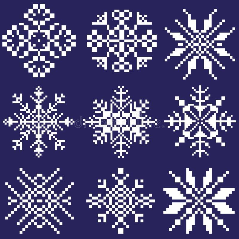 Metta dei fiocchi di neve bianchi delle forme differenti su un fondo blu disegnato dai quadrati, pixel Un elemento dell'ornamento illustrazione di stock