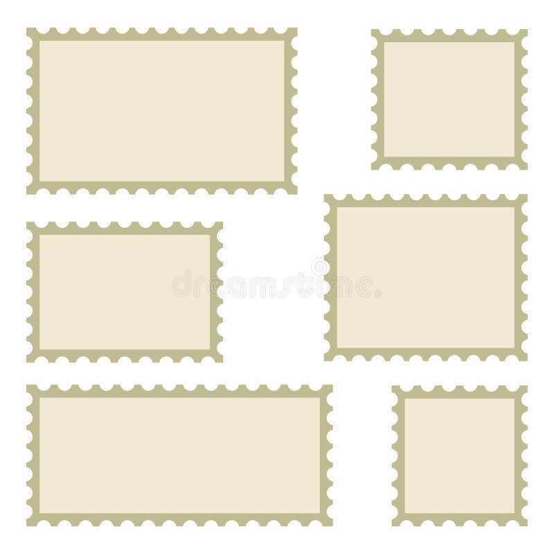 Metta dei francobolli in bianco delle dimensioni differenti Illustrazione di vettore illustrazione di stock