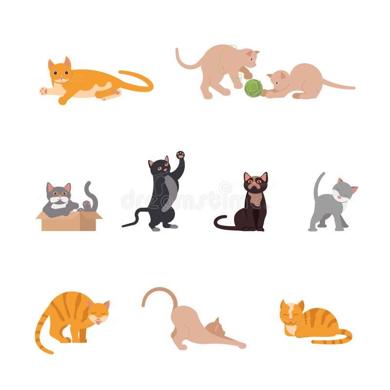 Metta dei gatti divertenti nella progettazione piana royalty illustrazione gratis