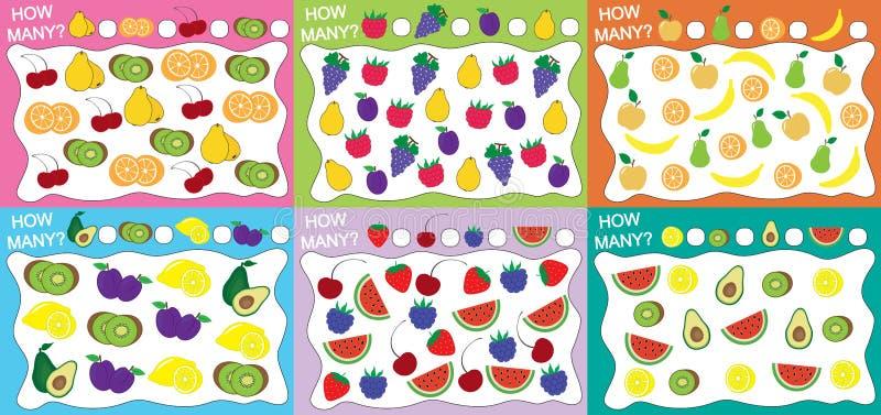 Metta dei giochi educativi per i bambini 6 in 1 Quanti frutti degli oggetti hanno contato? Illustrazione di vettore royalty illustrazione gratis