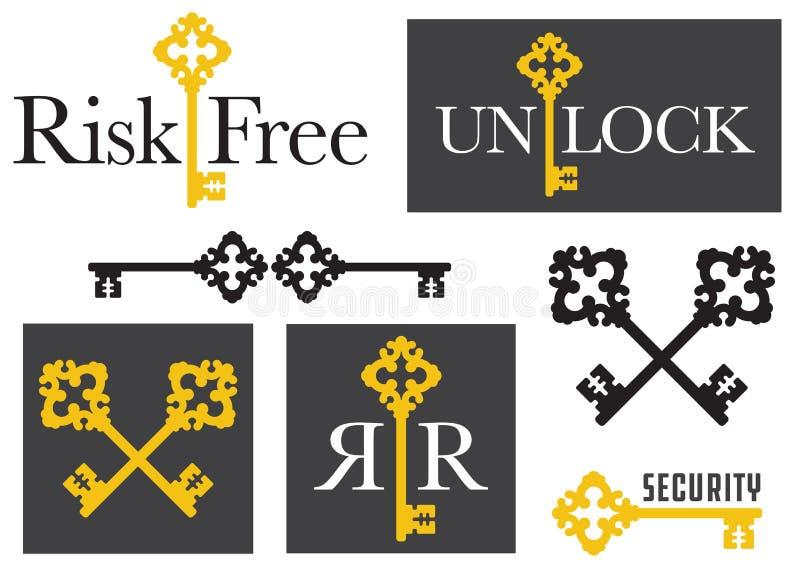Metta dei grafici chiave antichi dell'emblema immagini stock