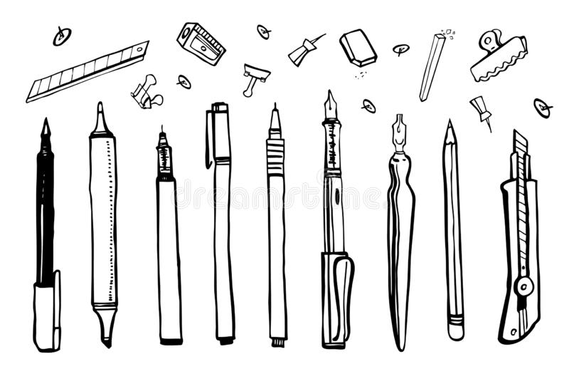 Metta dei materiali disegnati a mano dell'artista di vettore di schizzo Illustrazione stilizzata in bianco e nero con gli strumen illustrazione vettoriale