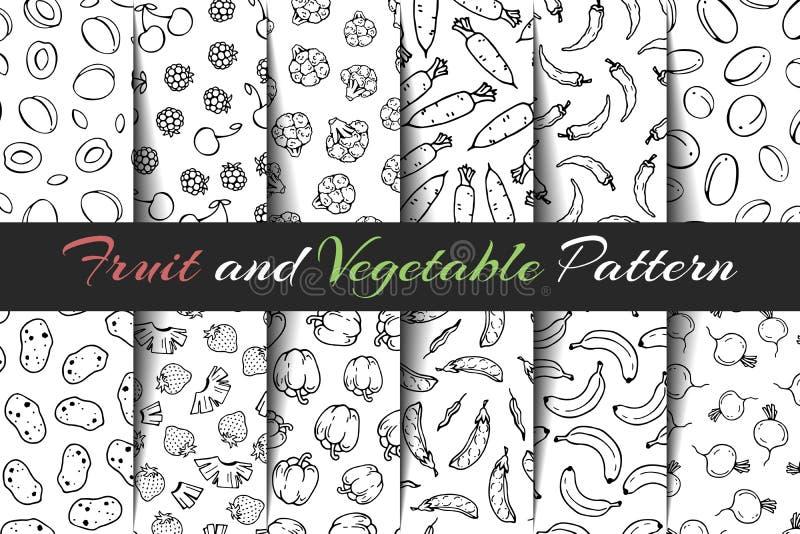 Metta dei modelli della frutta e di verdura di vettore illustrazione di stock