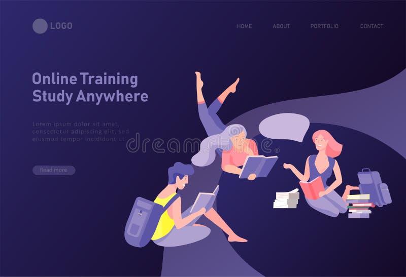 Metta dei modelli di progettazione della pagina Web con la gente d'apprendimento rilassata all'aperto per istruzione, formazione  illustrazione vettoriale