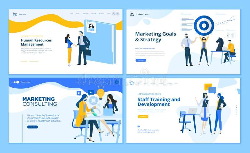 Metta dei modelli piani della pagina Web di affari di progettazione illustrazione di stock