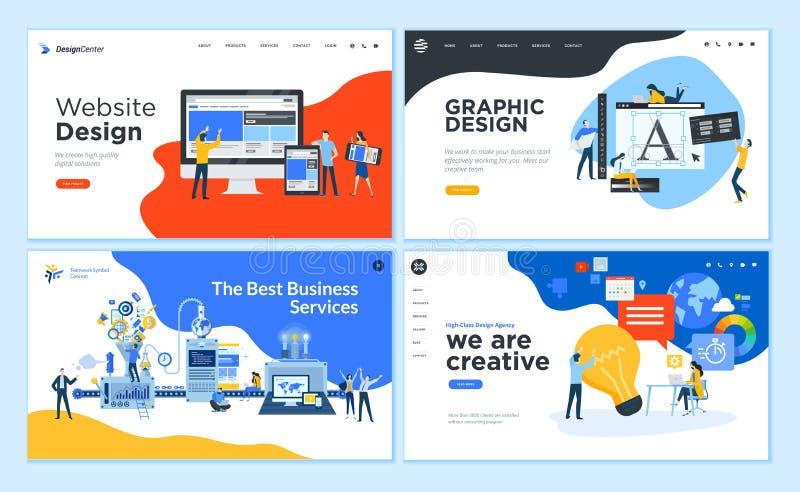 Metta dei modelli piani della pagina Web di progettazione illustrazione di stock