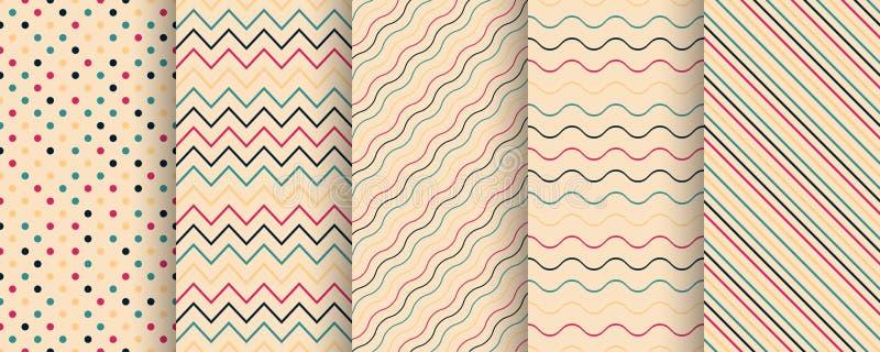 Metta dei modelli senza cuciture semplici di colore - retro progettazione minimalistic Barrato, struttura ripetibile del tessuto  illustrazione vettoriale