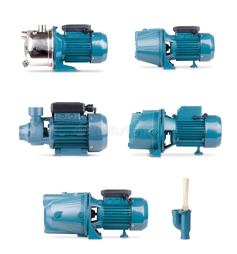 Metta dei motori elettrici, fondo bianco isolato Intelaiatura della pompa del ferro, sensore di pressione Stazione blu di colore  immagine stock
