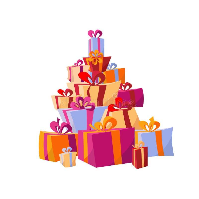 Metta dei mucchi dei contenitori di regalo variopinti Regali della montagna Bella scatola attuale con gli archi Illustrazione di  illustrazione di stock