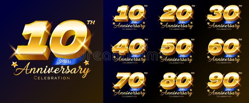 Metta dei numeri della celebrazione di anniversario dell'oro, il logo, l'emblema, modello di progettazione per il manifesto, l'in illustrazione di stock