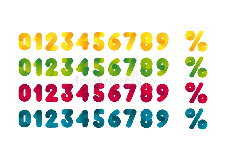 Metta dei numeri variopinti e dei simboli di percentuale Elementi di progettazione del modello per i manifesti e le insegne di pr illustrazione di stock